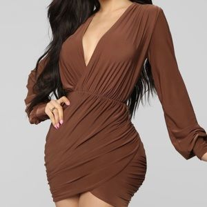 Brown ruched mini dress